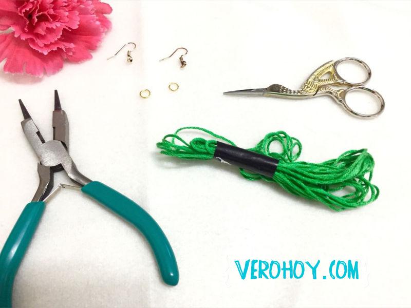 fee2f1de7442 DIY Como Hacer Aretes con Hilo Fácil y Bonitos - Vero Hoy